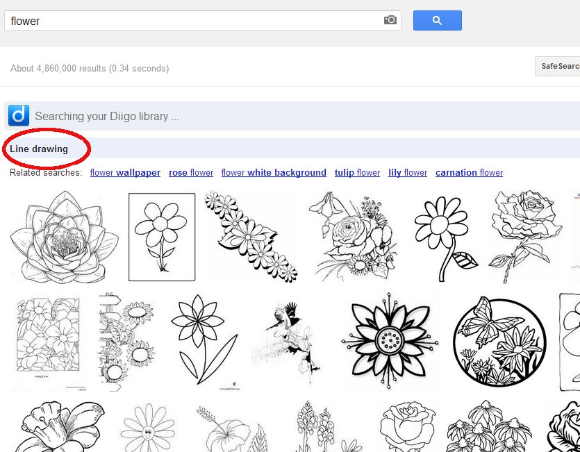 Line drawing image search tips