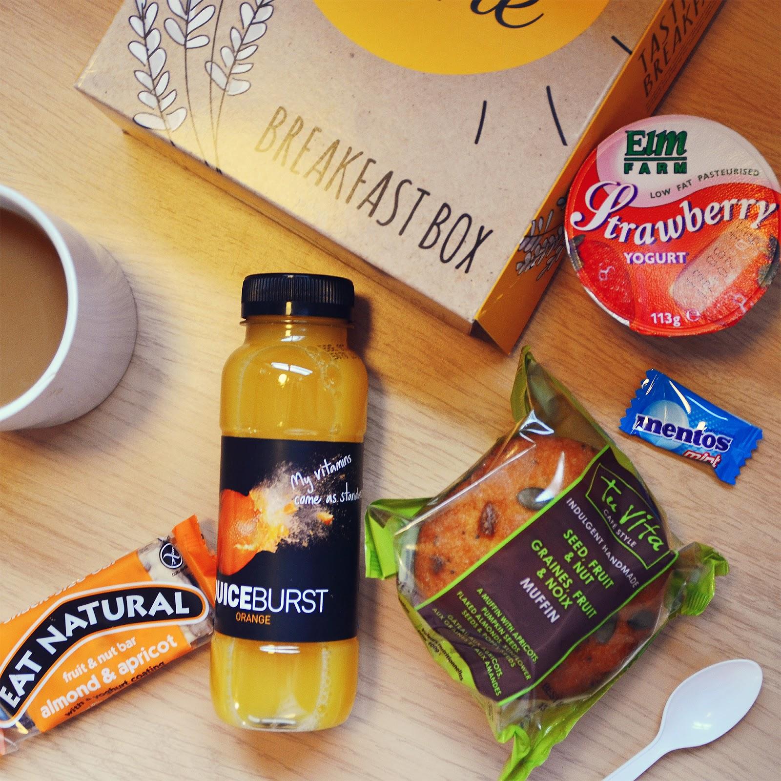 Rise Shine Breakfast Box, muffin, fruit, yoghurt, packed lunch, travelodge