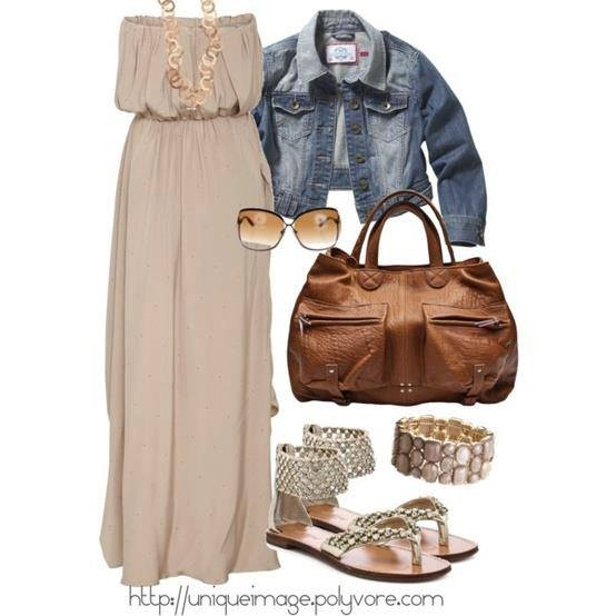 Party gown, jeans jacket, sunglasses, brown bag and sandals for ladies