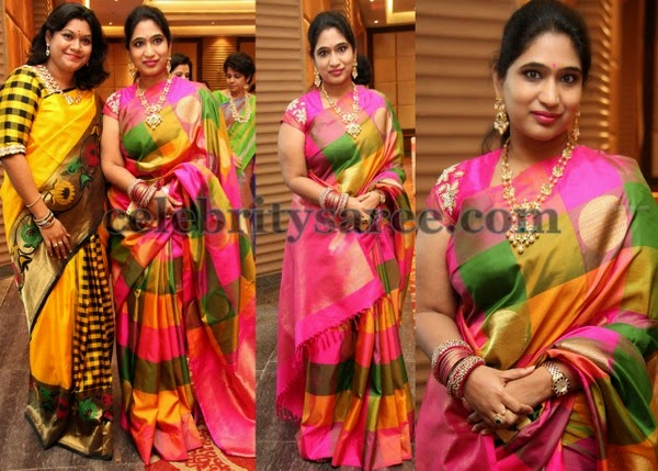 Pretty Ladies in Stripes Silk Sarees