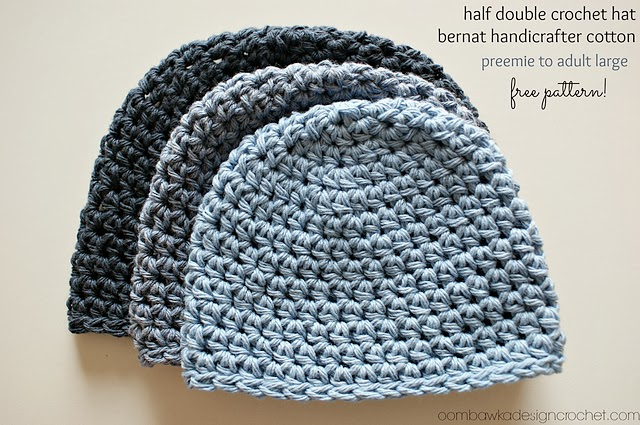 free crochet pattern basic half double crochet beanie