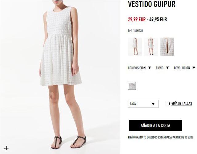 Vestido blanco lunares Zara primavera/verano 12