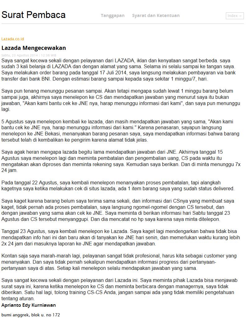 Pengalaman Belanja Di Lazada.co.id