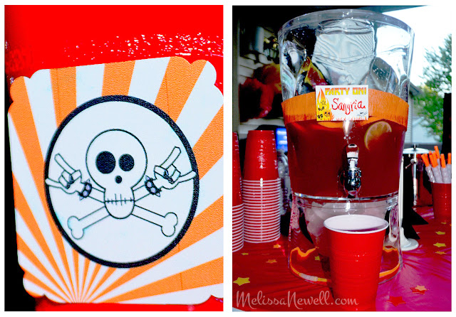 sangria, drink on, rocker party decor, birthday party, rock style