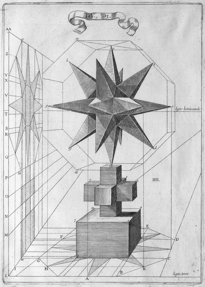 perspective geometric projections from multi-pointed solid shape