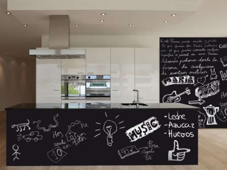 Living deco and style vinilos en la cocina - Pizarra para cocina ...