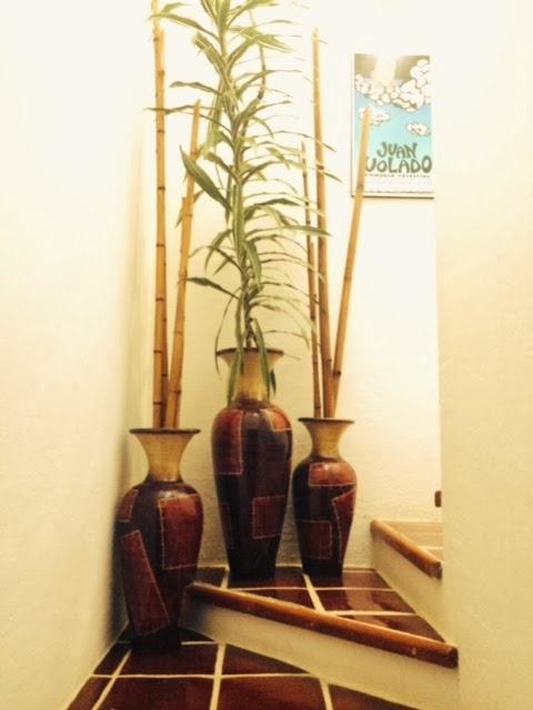 jarrones con plantas y bamb - Jarrones Decorados