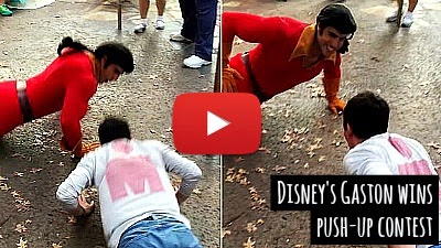 Watch how Watch how Gaston the Town Hero of the Beauty and the Beast live up to his reputation at the Push-up contest on being challenged by a visitor at the Disney World Florida theme parka via geniushowto.blogspot.com viral disney videos