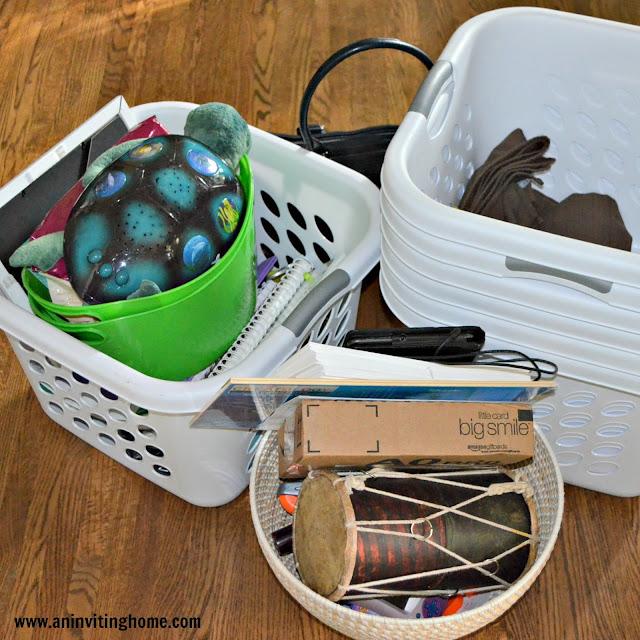 clutter in baskets