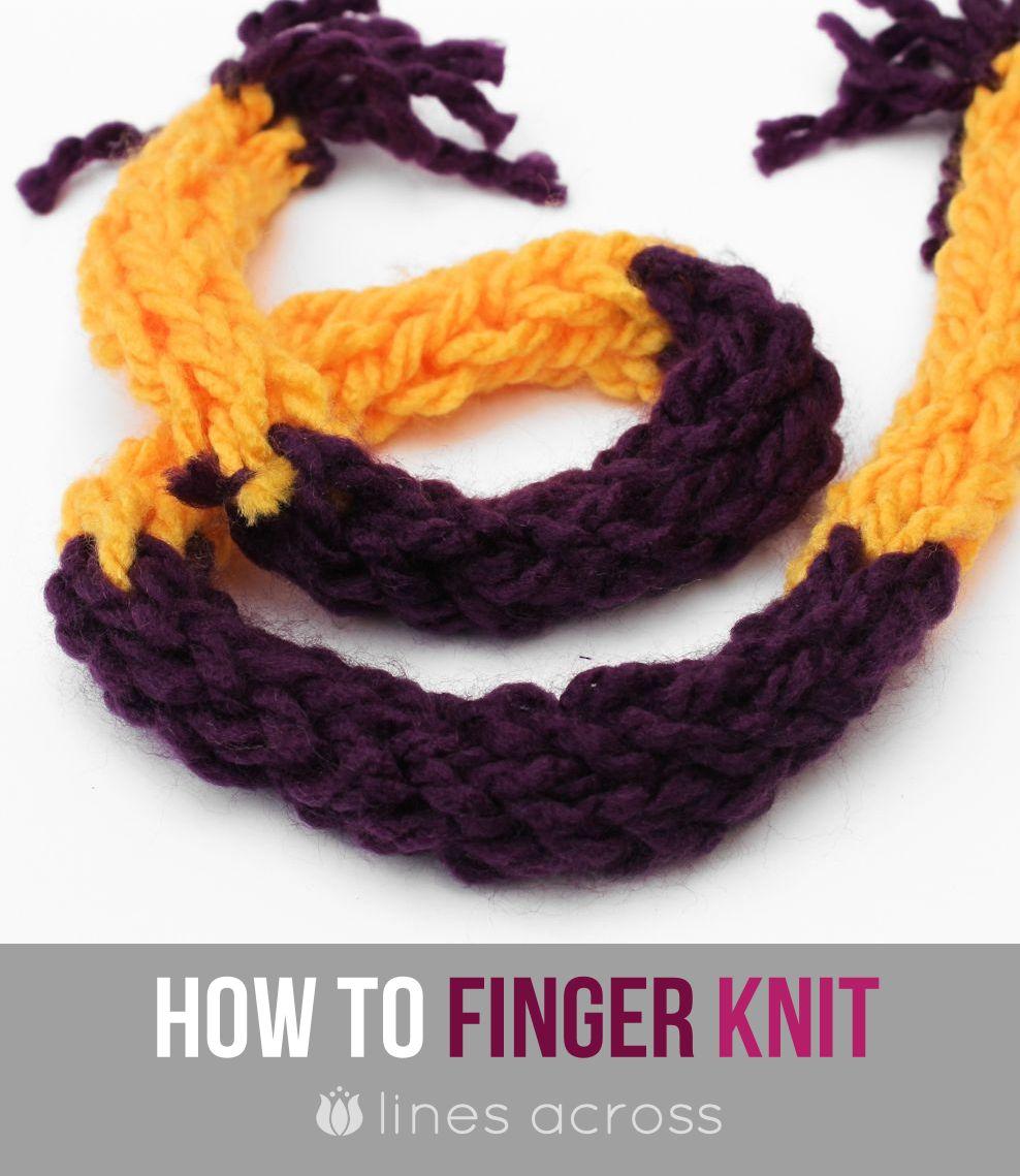 Finger Knitting Tutorial : Finger knitting tutorial lines across