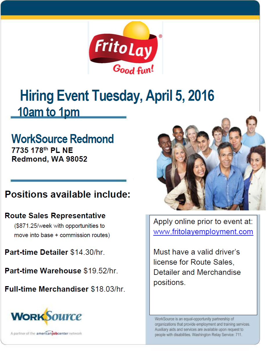 job leads hiring event for frito lay at worksource redmond on when tuesday 5 2016 10 00am 1 00pm