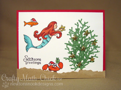 Mermaid Christmas card by Crafty Math Chick | Mermaid Crossing & Sea-sons Greetings by Newton's Nook Designs