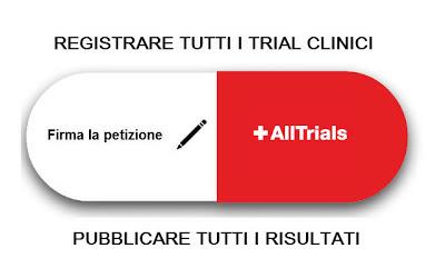 Firma la petizione ALLTRIALS per richiedere la registrazione di tutti i trial clinici e la pubblicazione obbligatoria di tutti i risultati!