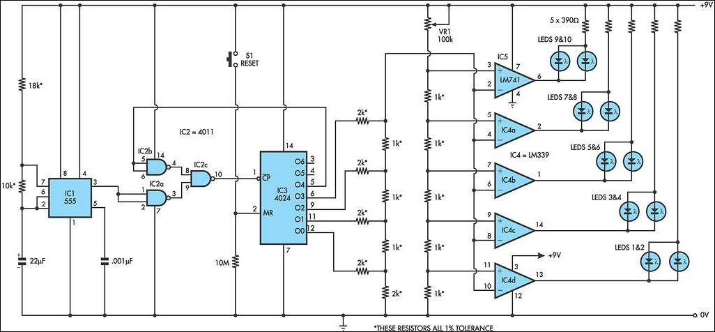 Led Lights Circuits With Lm339 Ic555 Electronic Circuit