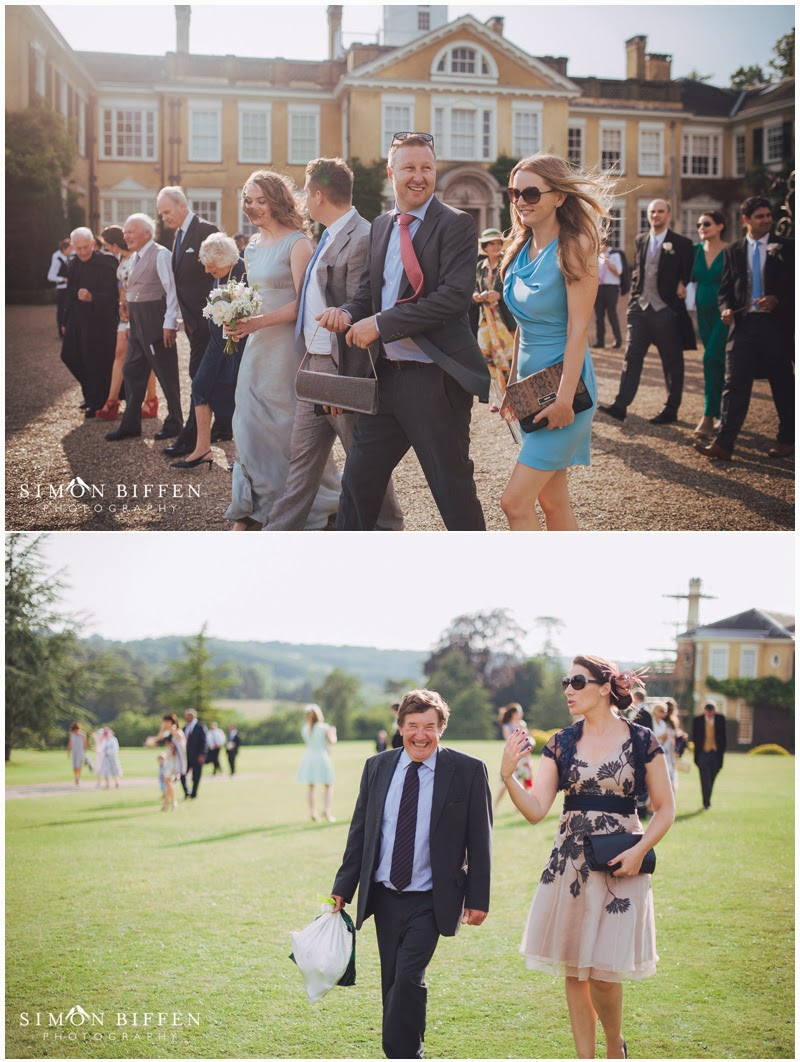 Wedding guests at Polesdon Lacey