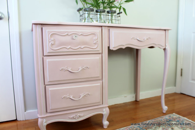 Pink chalk paint desk makeover