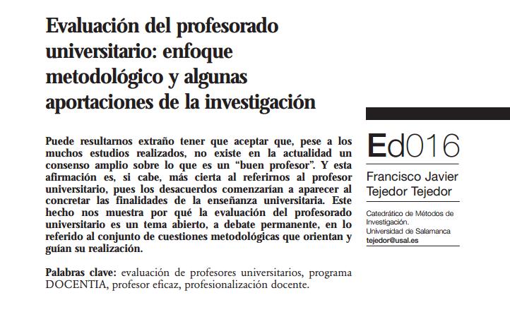 Caso: Dr. Francisco Javier Tejedor Tejedor, Evaluación del profesorado universitario: