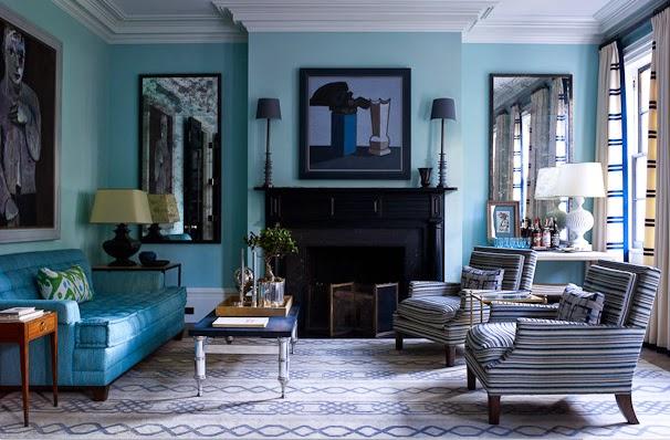 ruang keluarga warna biru
