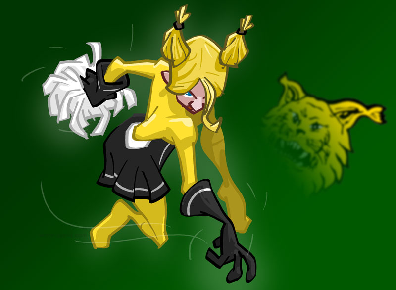 cheerleader character for ice-hockey