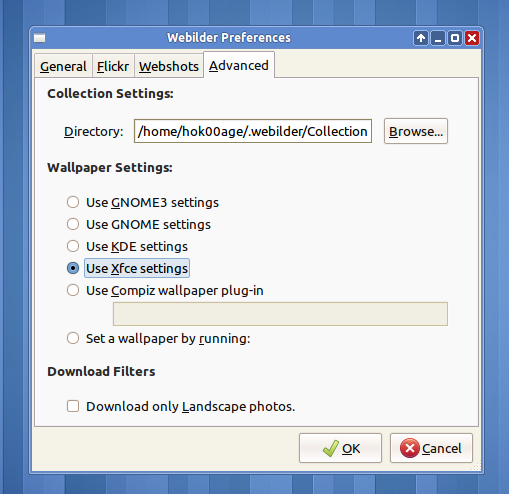 Webilder mendukung berbagai desktop environment