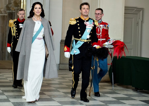 Queen Margarethe, Crown Prince Frederik and Crown Princess Mary of Denmark attend the new year reception at Christiansborg Palace in Copenhagen, Denmark