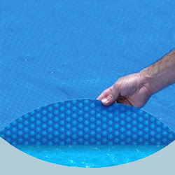 blue solar pool cover, heat pool