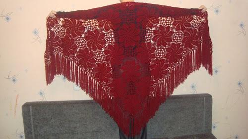 Вязание крючком Большая треугольная шаль