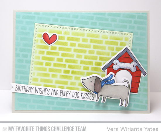 Puppy Dog Kisses Card featuring the Top Dog stamp set and Die-namics and the Birdie Brown You Make My Tail Wag stamp set and Die-namics #mftstamps