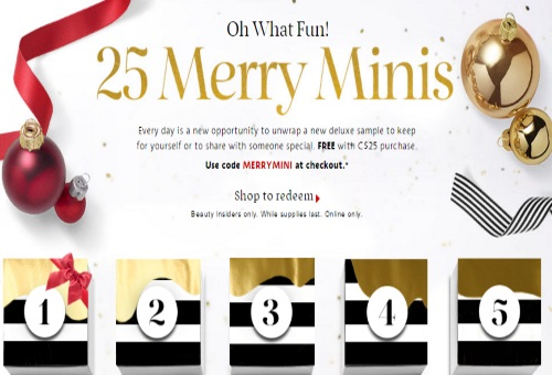Sephora Free 25 Merry Minis Samples Promo Code
