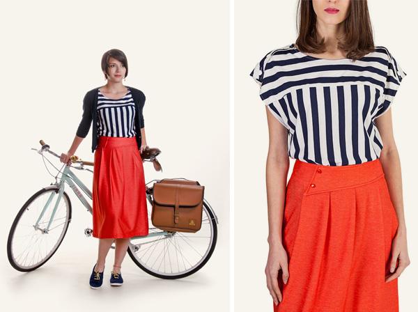 Complementos retro para bicicleta de paseo Ramonas Classic Collection + Outfit de Andrea Martínez (camiseta y falda)