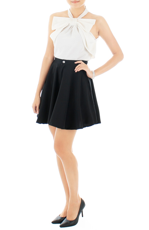Crystal Jewel Flare Skorts – Black