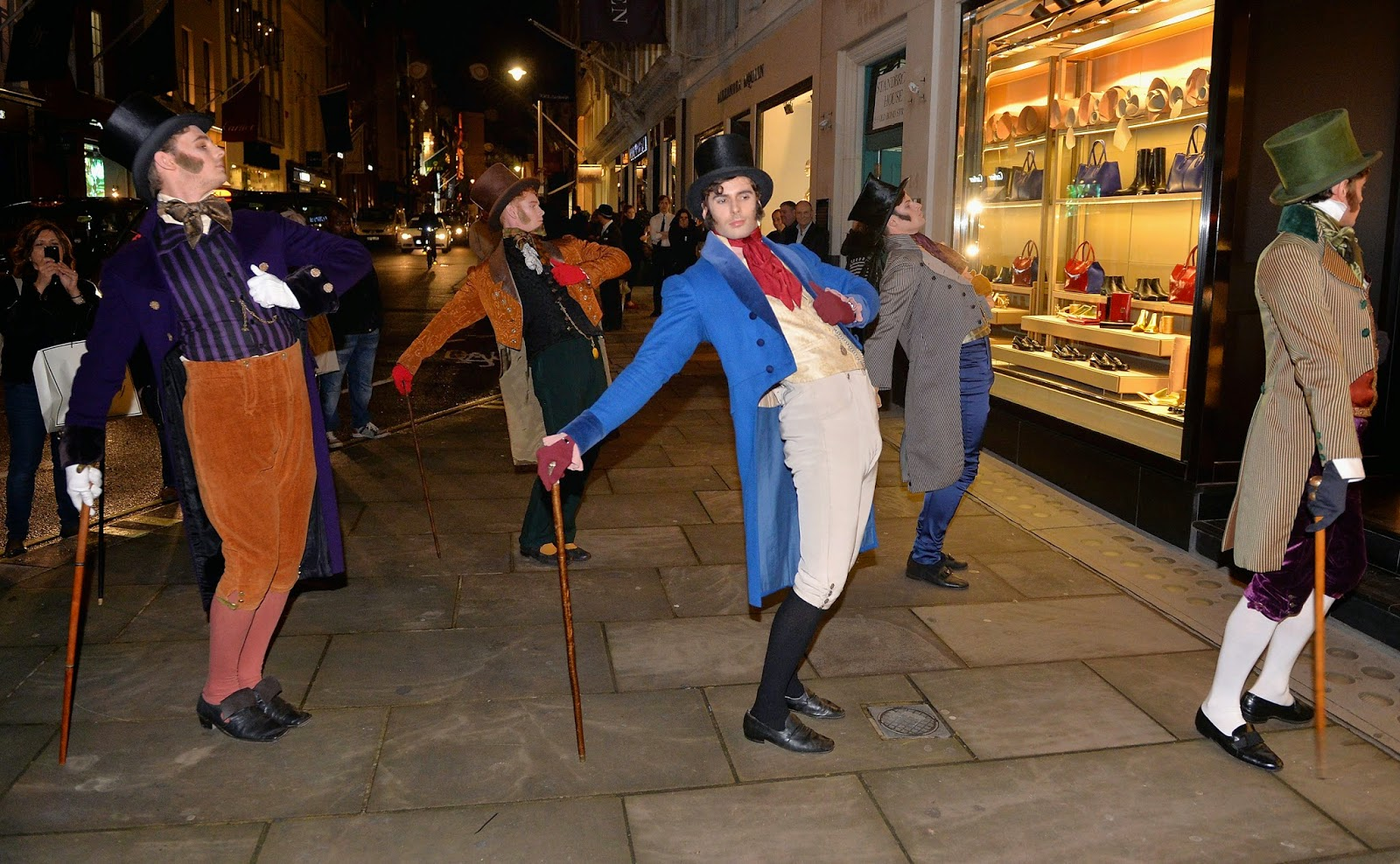 Six Dapper men performing at the 2014 Bond Street Christmas Illuminations