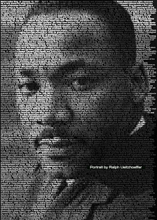 portrait of Dr. Martin Luther King Jr. made with text