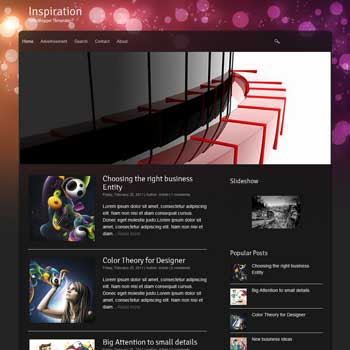 Inspiration blog template. download blogger template image slideshow