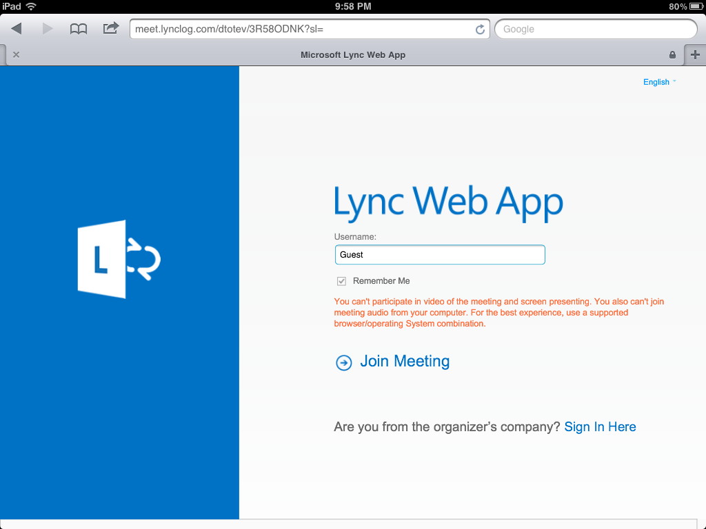 lync online meeting force web client If you'd like to customize the appearance of the meet web page (the page a user is taken to when they click the link in a meeting request), you can quickly lync server 2010\web components\join launcher\int\resources c:\program files\ microsoft lync server 2010\web components\reach\ext\client\.