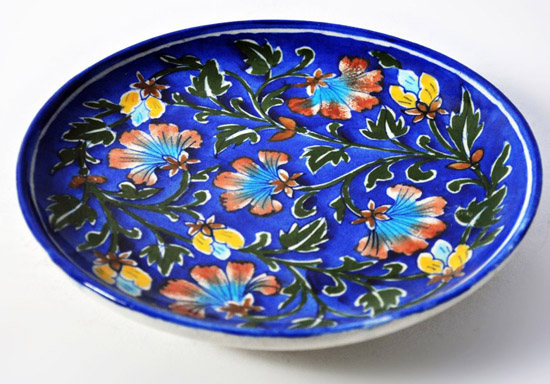 Rajasthan Handicrafts pottery dinnerware Handmade Ceramic Blue pottery plates Dishes India & Rajasthan Handicrafts: pottery dinnerware Handmade Ceramic Blue ...