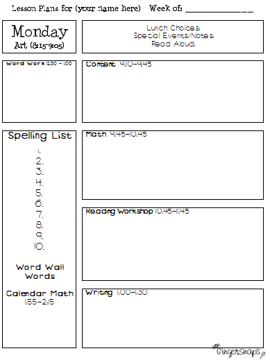 Ginger snaps lesson plan template freebie for Day plan template for teachers