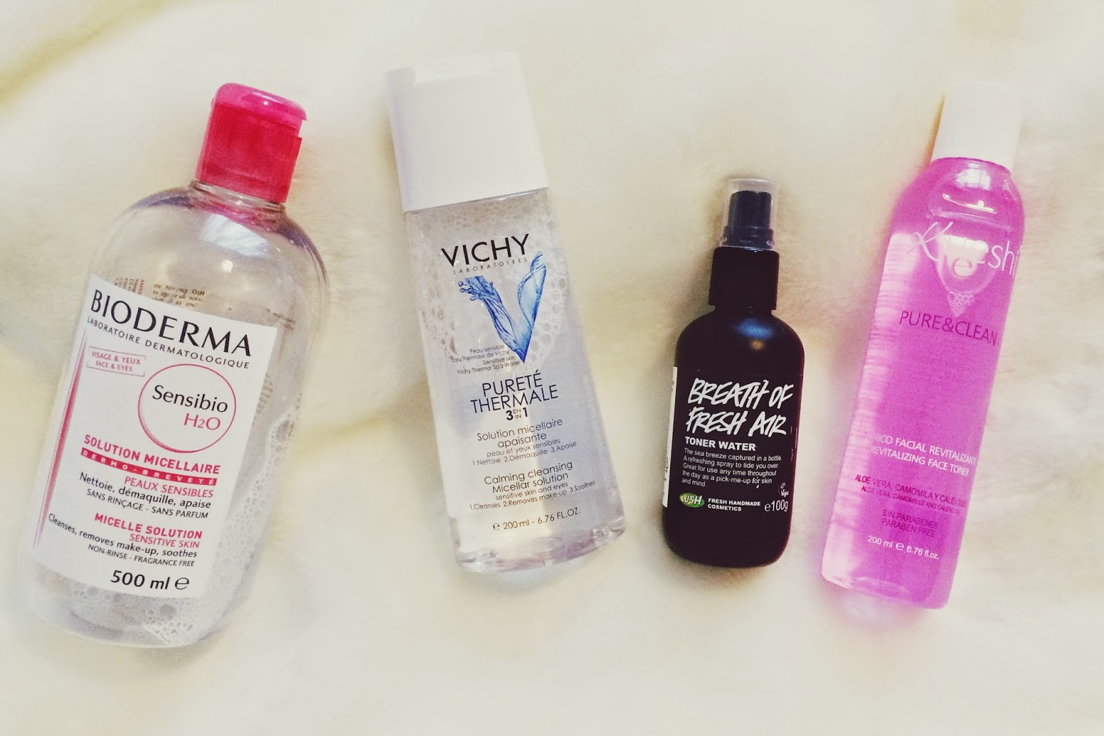 FashionFake, UK beauty blog, beauty bloggers, toners for sensitive skin, Lush toner, Bioderma review, VICHY micellar toner review