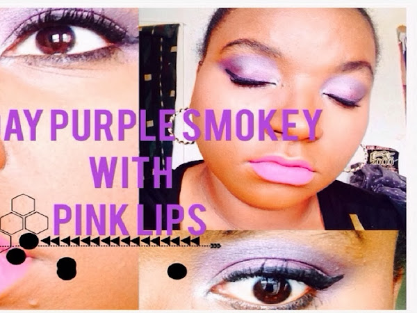 V-Day Purple Smokey Eye With Pink Lips