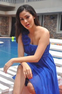 Sada in Blue Gown Spicy Cute Beauty pool side Picture shoot