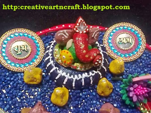 Anu 39 s art and crafts october 2013 for Aarti thali decoration with grains