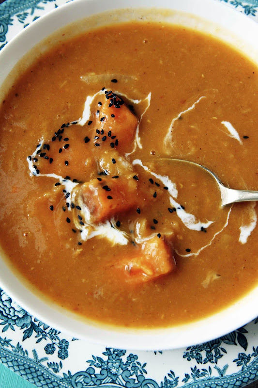 Milk and Honey: Moroccan Spiced Sweet Potato and Red Lentil Soup