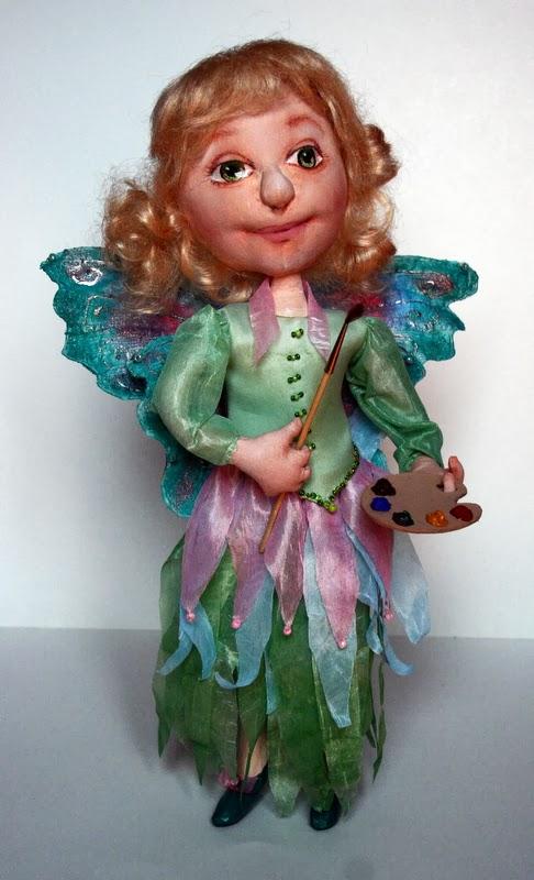 Кукла в технике грунтованного текстиля Феечка Акварелька