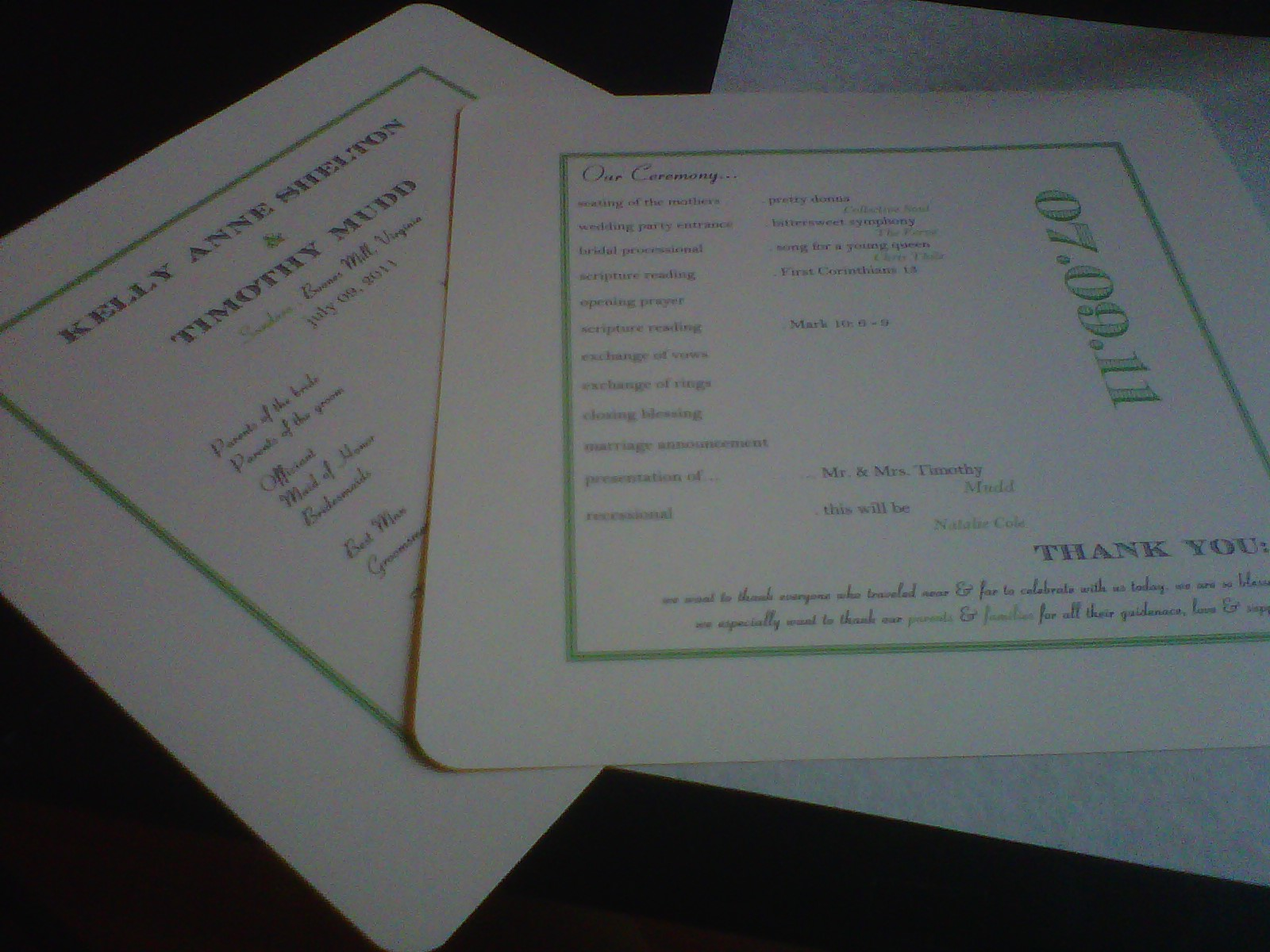 Postcards from kelly anne wedding ceremony program fans this was another do it yourself project and i started this project in microsoft word i created a document using a table with a double lined green boarder solutioingenieria Image collections