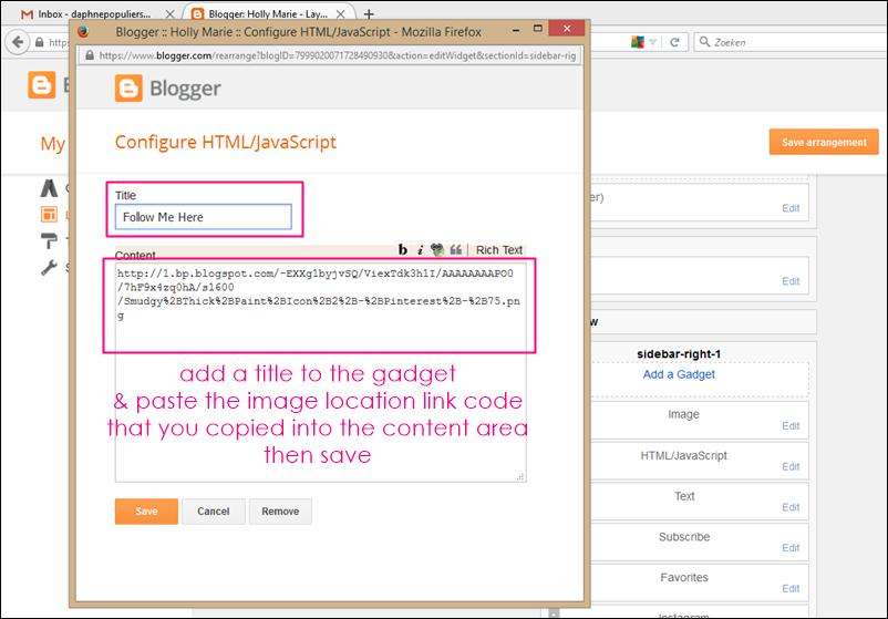 adding code to a blogger html gadget