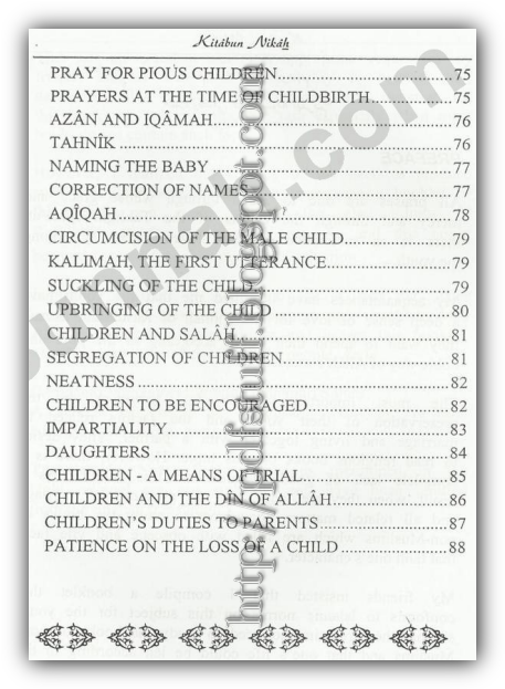 Contents of the book Kitabun Nikah
