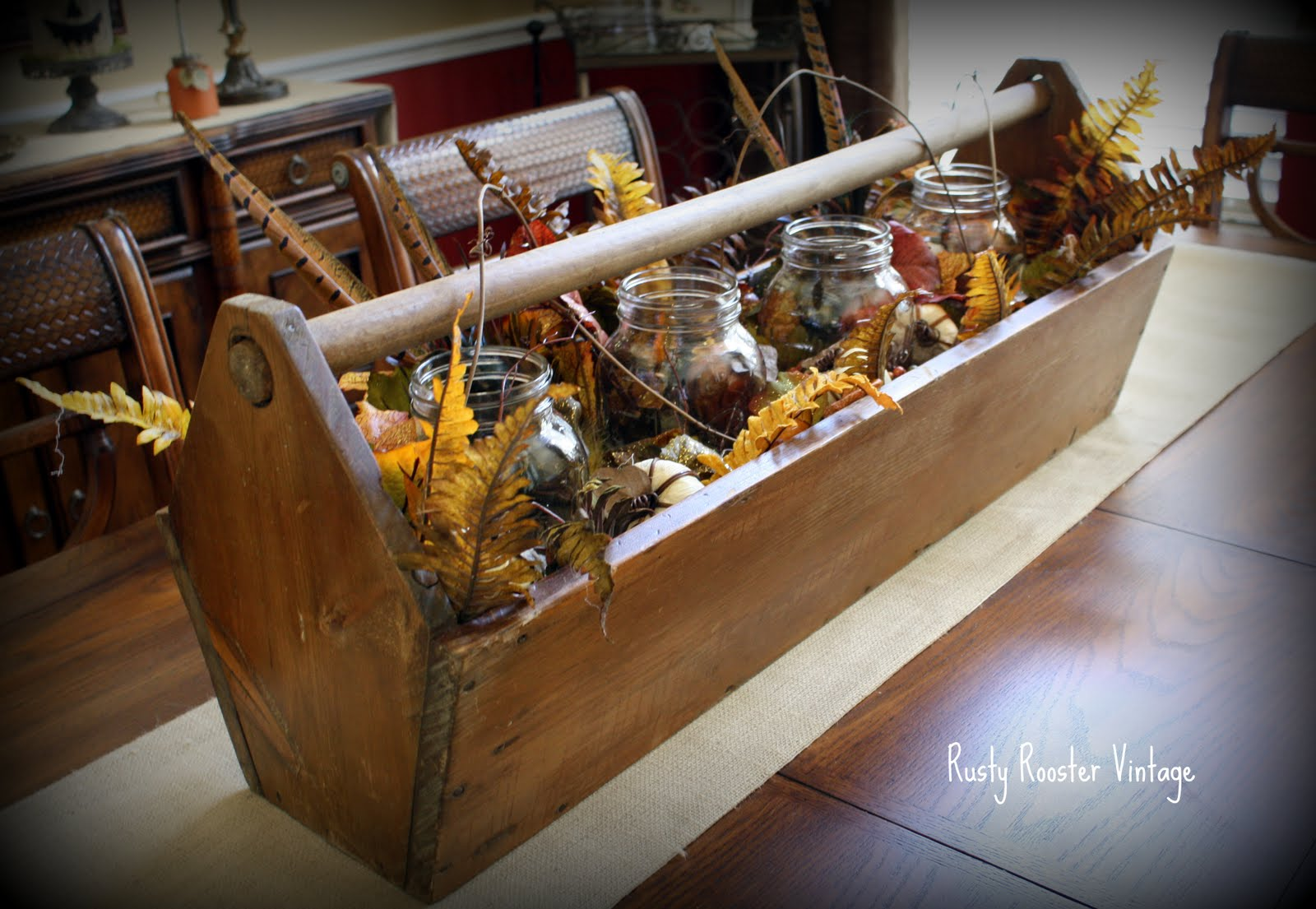 Rusty rooster vintage fall centerpiece before and after
