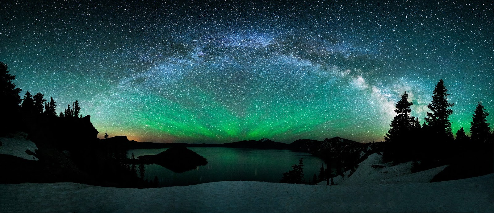 Milky Way Galaxy Crater Lake
