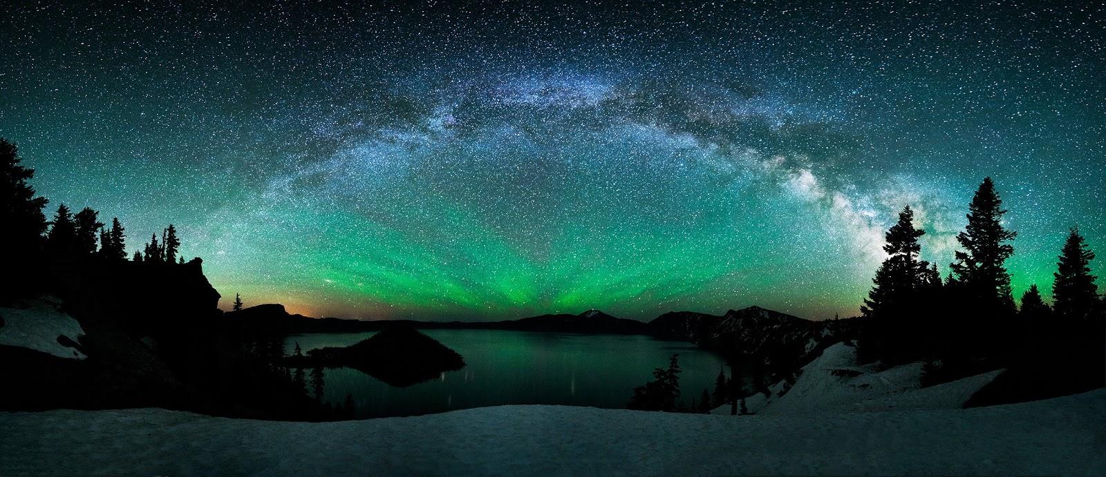 Milky Way Galaxy Crater Lake