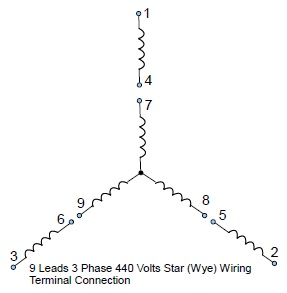 9 leads 3 phase high volts star wye connected motor wiring configuration